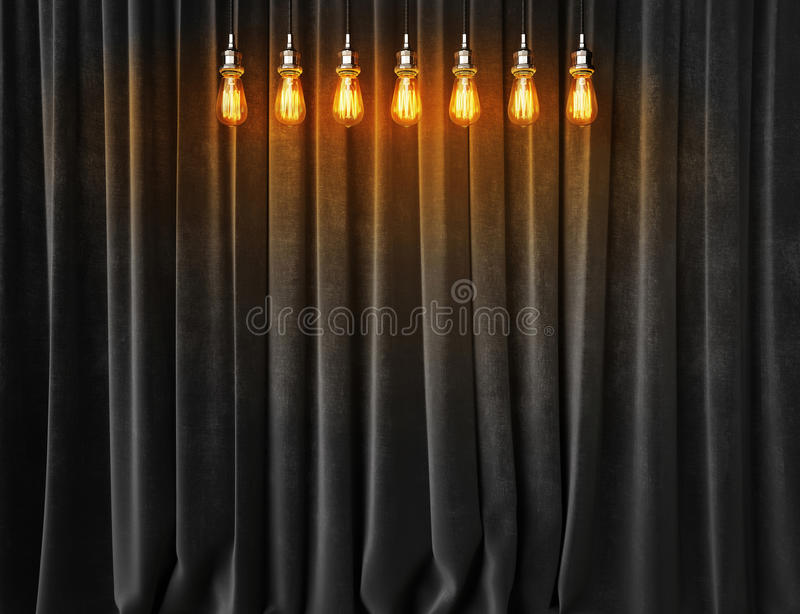Download Vintage Lightbulbs On Velvet Curtains Background Stock Photo