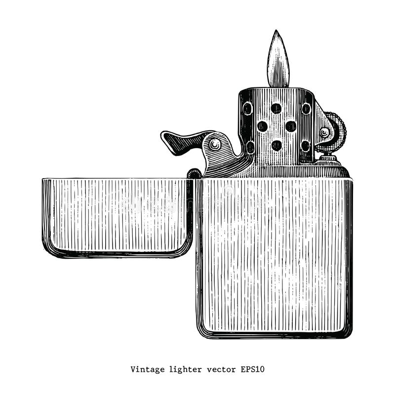 Vintage lighter hand drawing clip art isolated on white background vector illustration