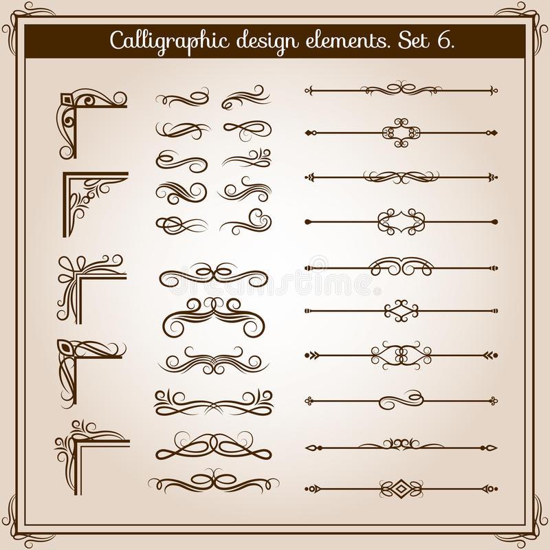 Vintage linear vector ornate decorative elements. Retro flourish line dividers, corners and swirls for page decoration stock illustration