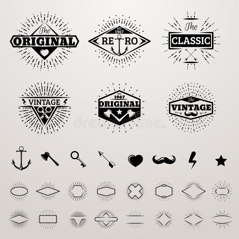 Vintage lines insignia set with star burst. Vector hipster printing bursting retro logo collection royalty free illustration