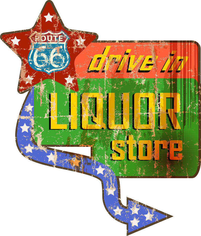 Vintage liquor store sign on the route 66,. Vector illustration vector illustration