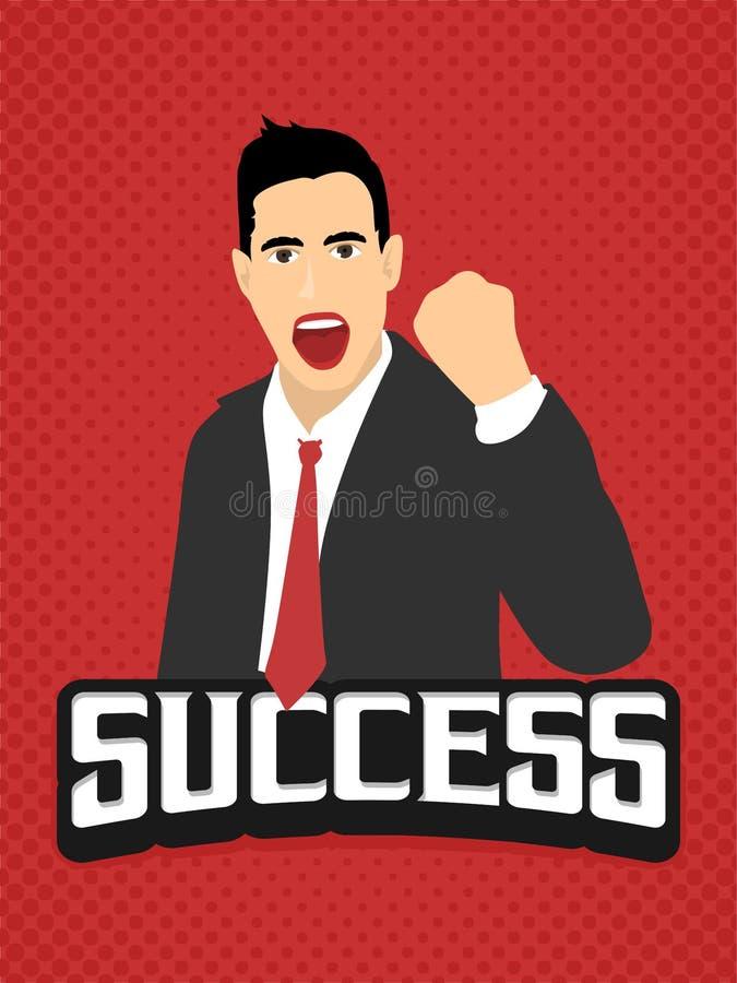 Vintage liso de toque ligeiro da expressão da solha do homem de negócios do sucesso retro no lanscape vermelho do fundo ilustração stock
