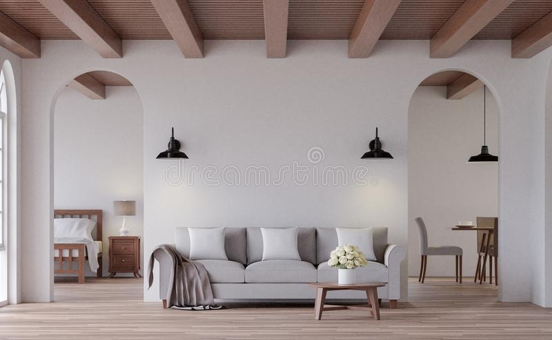 Vintage living 3d rendering image. The Rooms have wooden floors and ceilings with white walls and arch windows. Look through the door to see the bedroom and vector illustration