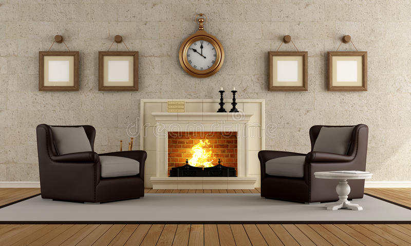 Vintage Living Room Royalty Free Stock Photography