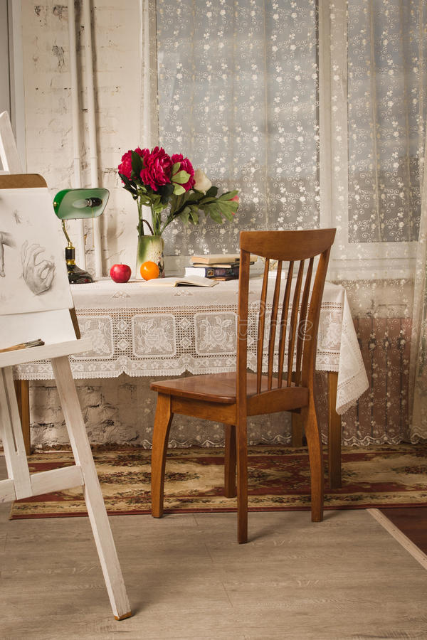 Vintage Living Room With Old Fashioned Table And Chair Stock Image ...