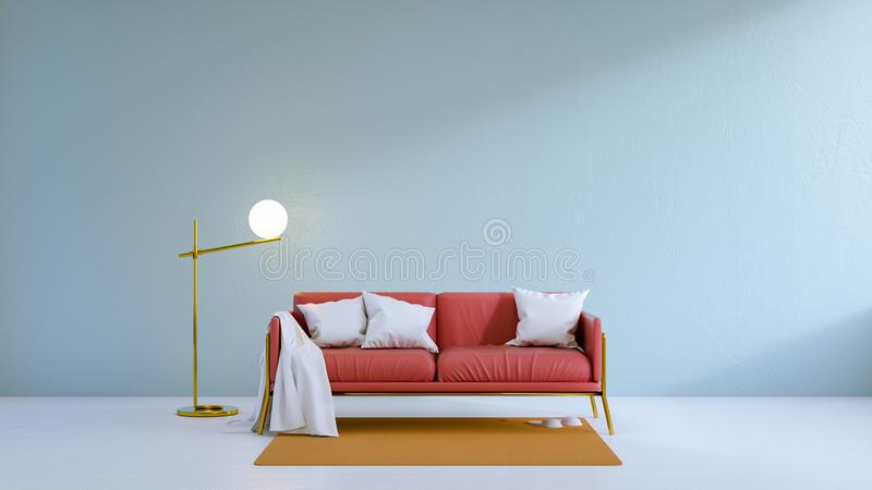 Vintage living room,red sofa on white floor and light blue wall ,3d render. Vintage living room, red sofa on white floor and light blue wall ,3d render stock illustration