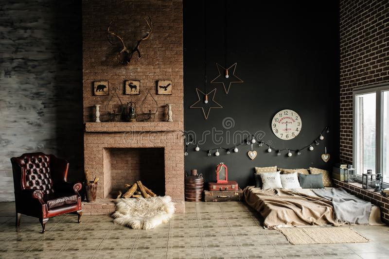 Vintage living room, retro style. stock photography