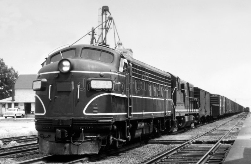 Vintage Locomotive. An old black and white picture of a diesel locomotive royalty free stock photos