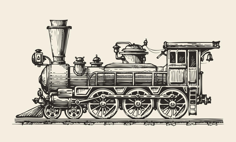 Vintage locomotive. Hand-drawn retro train. Sketch, vector illustration stock illustration