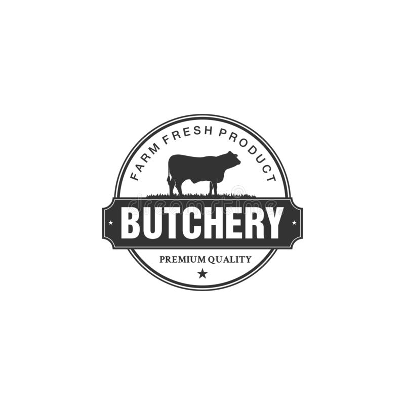 Vintage logo butcher shop with picture of cow. Engraving label with sample text. Vector Illustration stock illustration