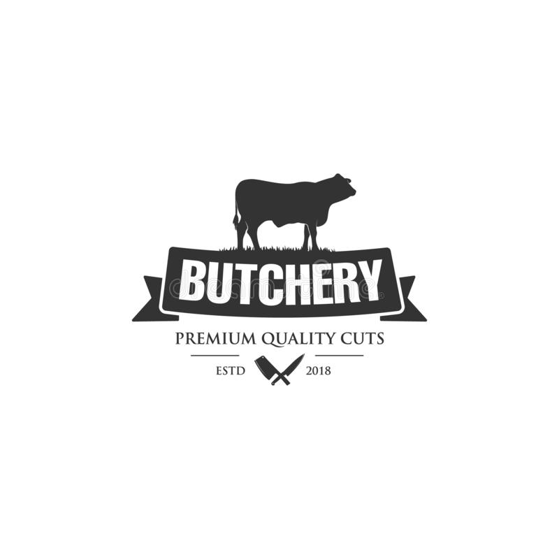 Vintage logo butcher shop with picture of cow. Engraving label with sample text. Vector Illustration royalty free illustration