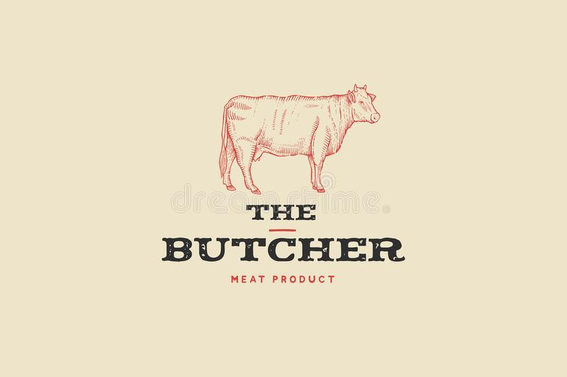 Vintage logo butcher shop with picture of cow. Engraving label with sample text. royalty free illustration