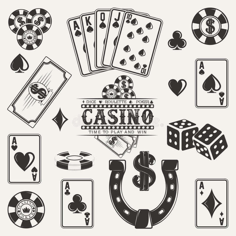 Vintage logo design. Set of casino, poker and dice elements for vintage logo design, monochrome icons isolated on white background, vector stock illustration