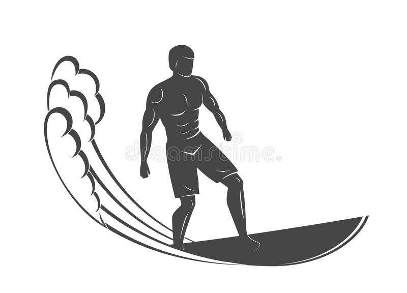Vintage logo. Men surfing on wave. Surfboard. Surf logotype. vector illustration