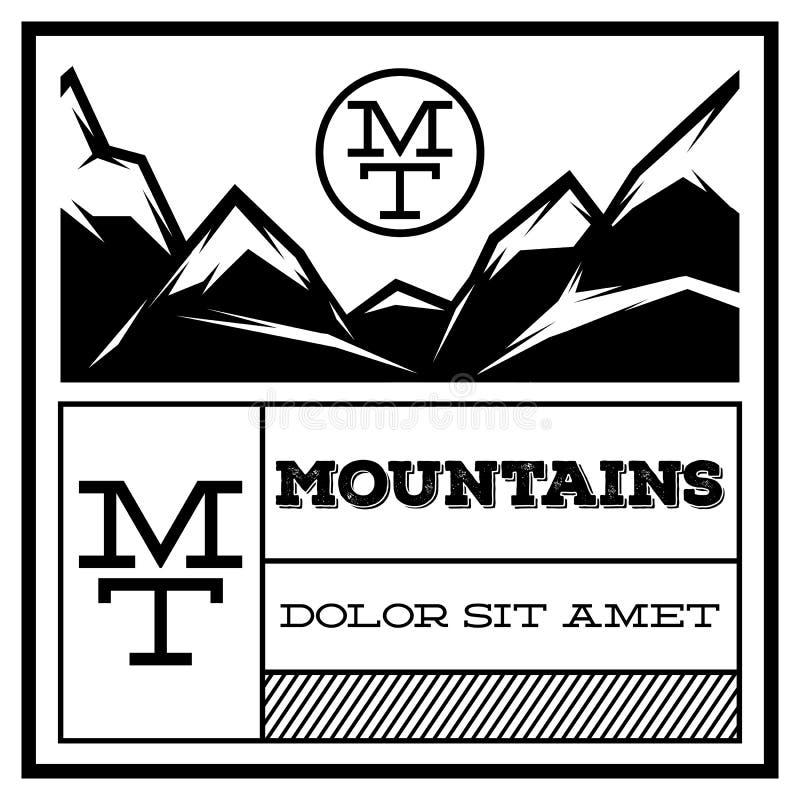 Vintage Logo Template Emblem da montanha Crachá para anunciar, ilustração retro do vetor do estilo ilustração stock
