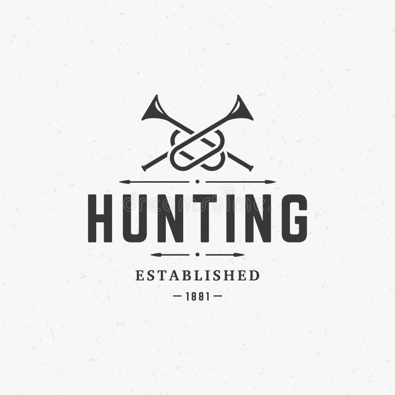 Vintage Logo Template Emblem do clube de caça ilustração do vetor