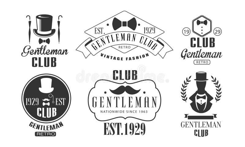 Vintage Logo Templates Set do clube do cavalheiro, ilustração monocromática do vetor dos emblemas do clube retro da forma ilustração stock