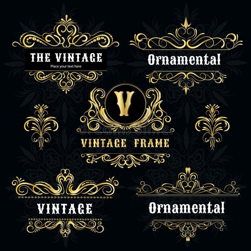 vintage logo templates vector gold decorative frame stock vector