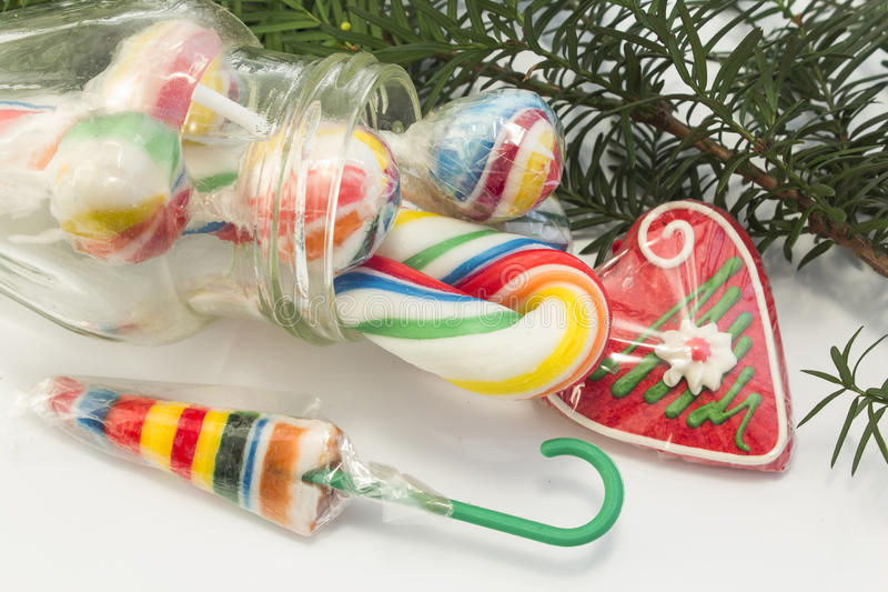 Vintage lollipops as Christmas decorations royalty free stock photos