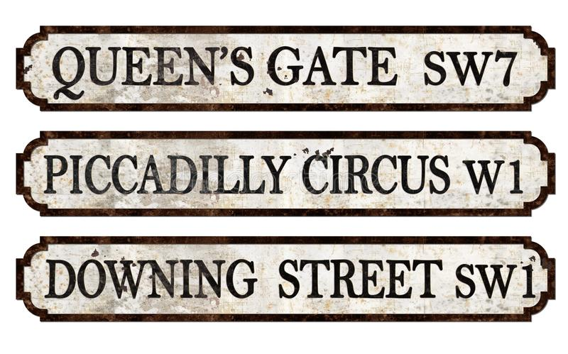 Vintage London Street Signs Piccadilly. Vintage London Street Signs including Queens gate piccadilly circus and downing street, antique metal with embossed royalty free stock photography