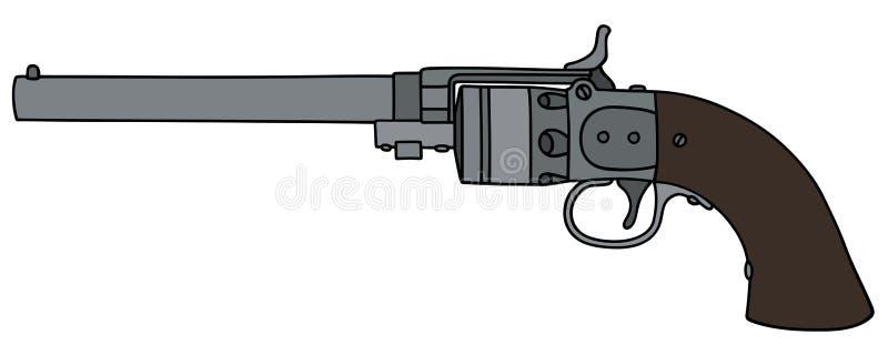Vintage long revolver. Hand drawing of a vintage revolver vector illustration