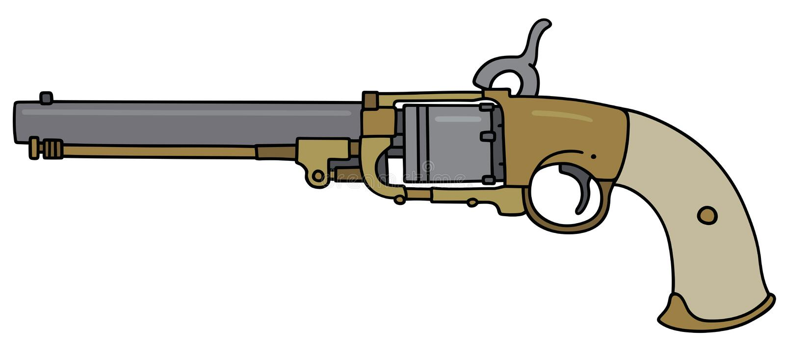 Vintage long revolver. Hand drawing of a vintage revolver with the pearl handle royalty free illustration