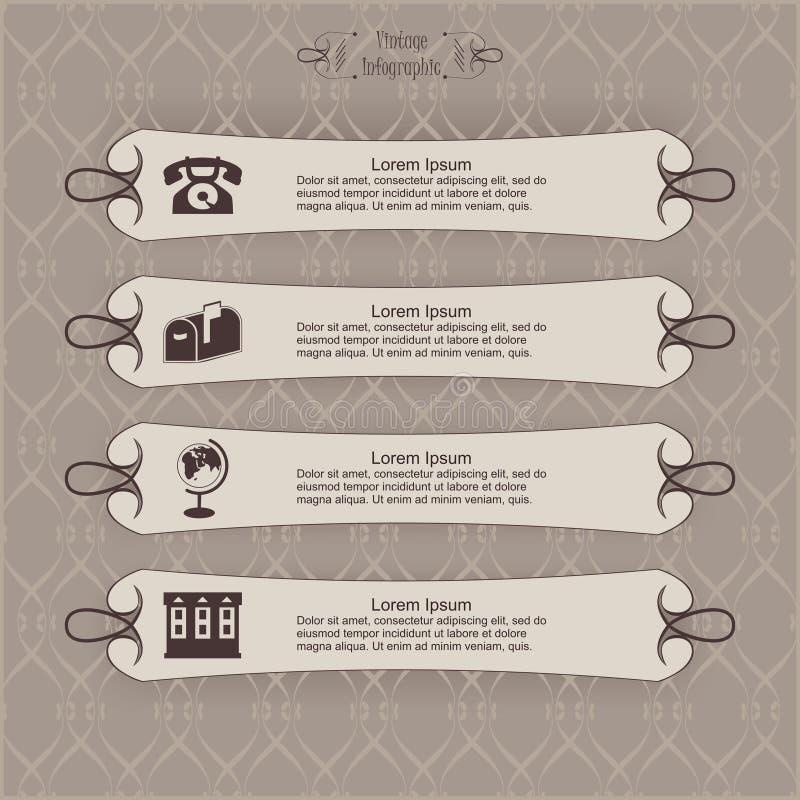 Vintage longo da etiqueta infographic ilustração royalty free