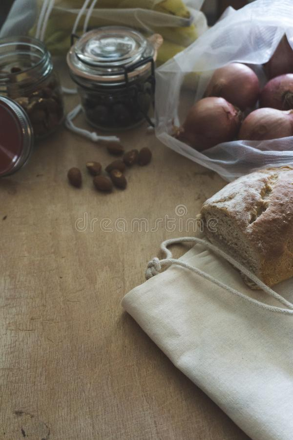 Vintage look of zero waste food containers. And food with space for a message royalty free stock images