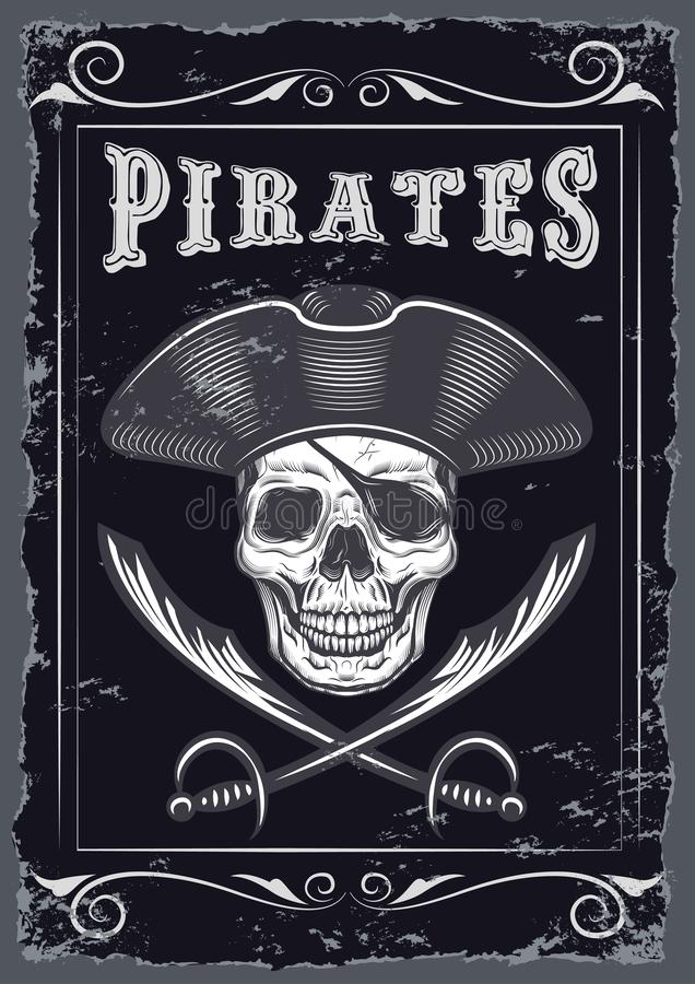 Vintage Looking Invite Template for a Party or Event with Death or Pirate. Drawings Vintage Looking Invite Template for a Party or Event with Death or Pirate vector illustration