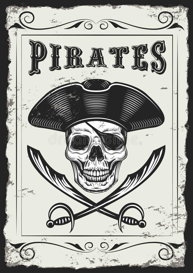 Vintage Looking Invite Template for a Party or Event with Death or Pirate. Drawings Vintage Looking Invite Template for a Party or Event with Death or Pirate royalty free illustration