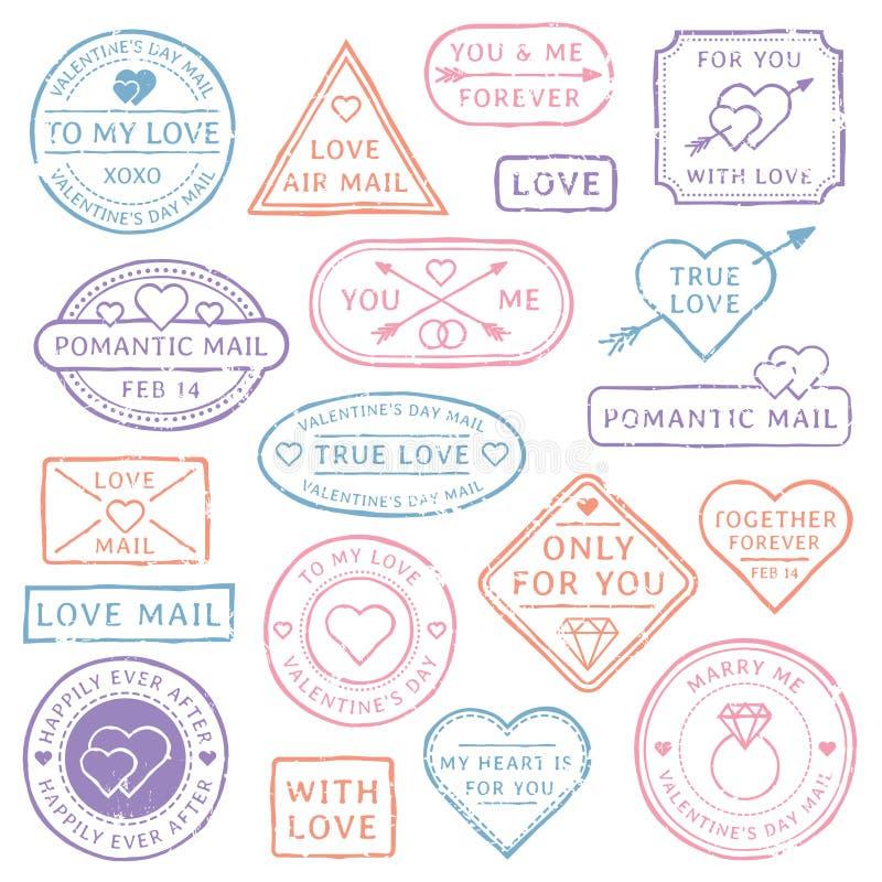 Vintage love letter postcard, Valentines Day postmarks. Stamps with hearts or mail seal for wedding postcards. Travel vector illustration