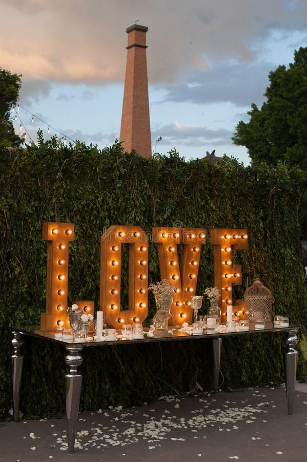 Free Vintage Love Light Bulb Sign Decoration For Wedding Valentine Day Stock Image - 55880411