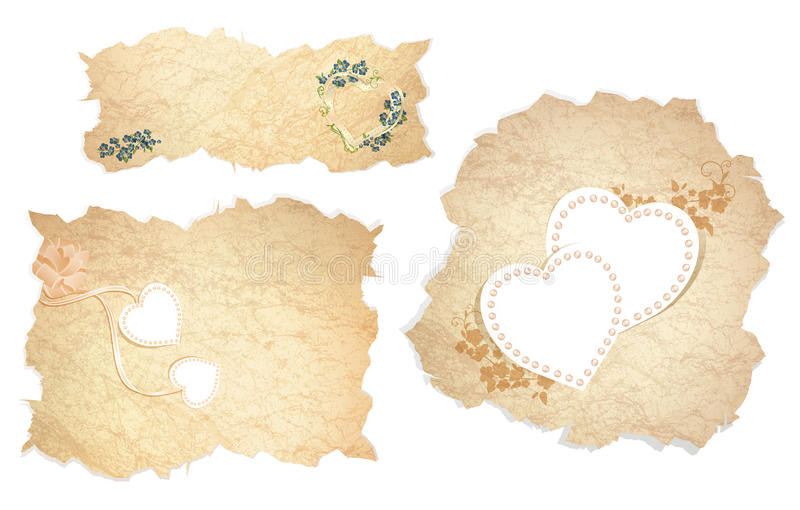 Vintage love paper with hearts. Vintage paper pieces with heart and floral decoration over white background royalty free illustration