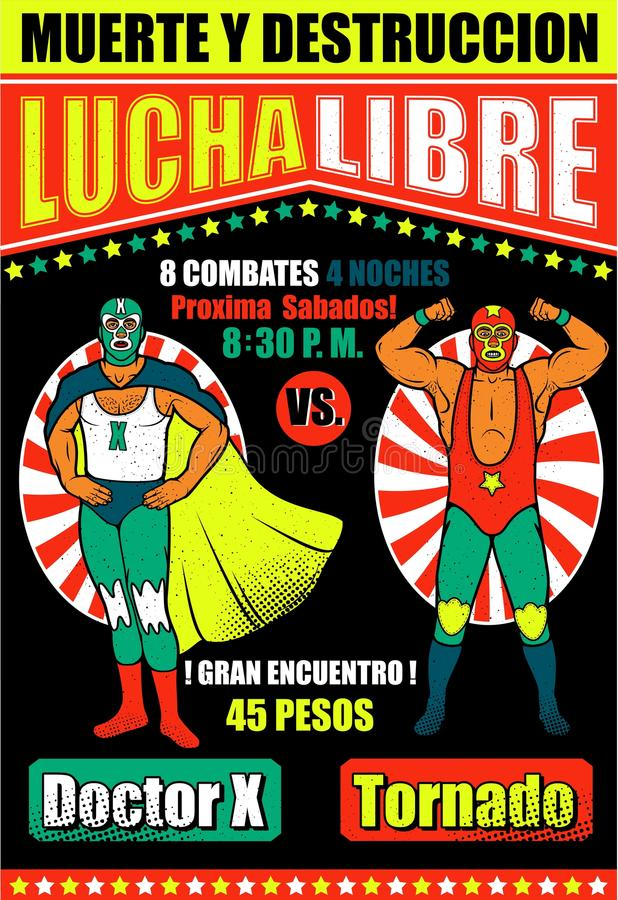Vintage Lucha Libre Ticket libre illustration