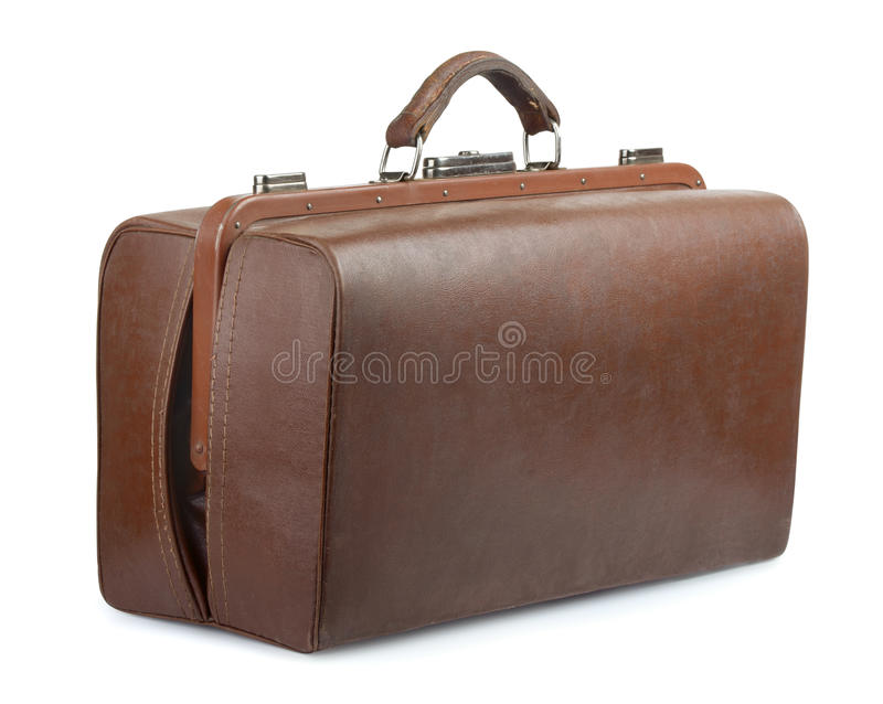 Vintage luggage bag. Brown leather old luggage bag isolated on white royalty free stock images