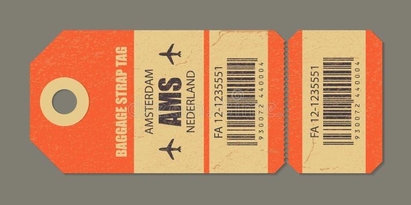 Vintage luggage tag, vintage retro travel Amsterdam nederland country label. stock illustration