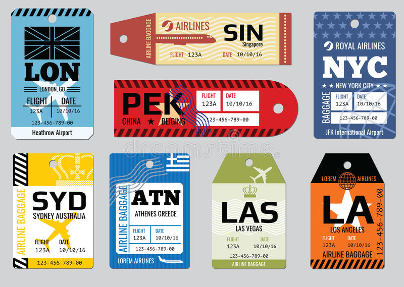 Vintage luggage tags, travel labels vector set stock illustration