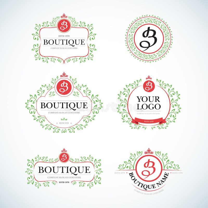 Vintage luxuoso do boutique, moldes do logotipo das cristas ajustados Sinal do negócio, identidade para o restaurante e boutique ilustração stock