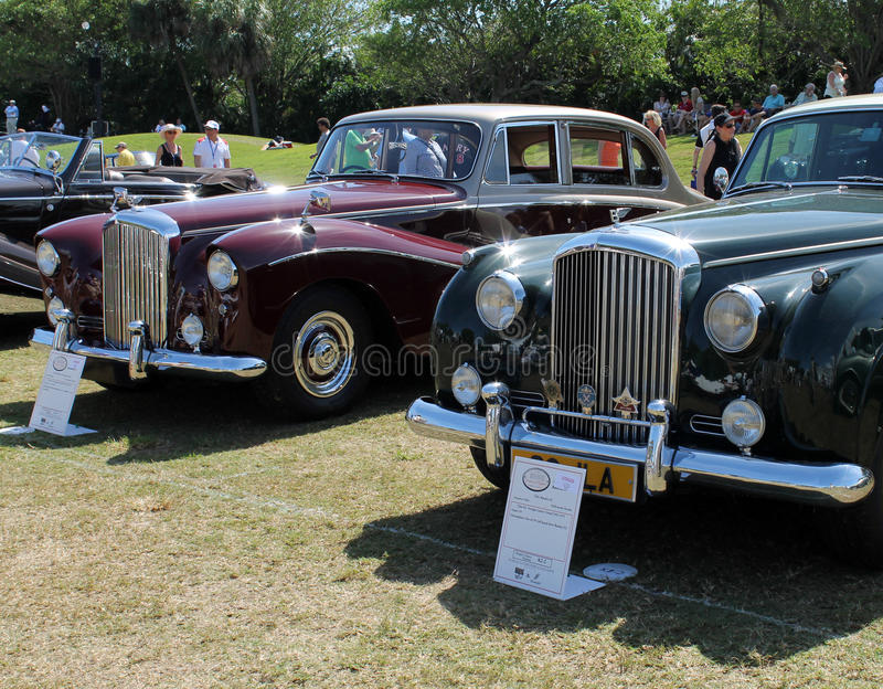 Vintage luxury car lineup stock photo