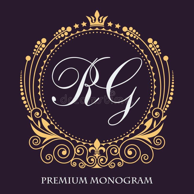 Vector art. The original monogram. Golden decorative frame. Elegant lines of calligraphic ornament. Heraldic symbols. Vintage luxury emblem. Elegant stock illustration