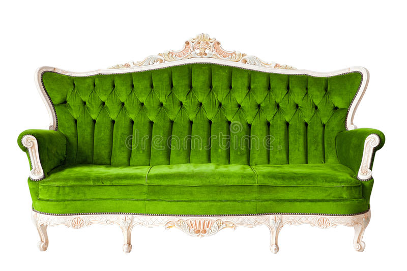 Vintage luxury Green sofa. Armchair isolated on white background with Clipping path royalty free stock images