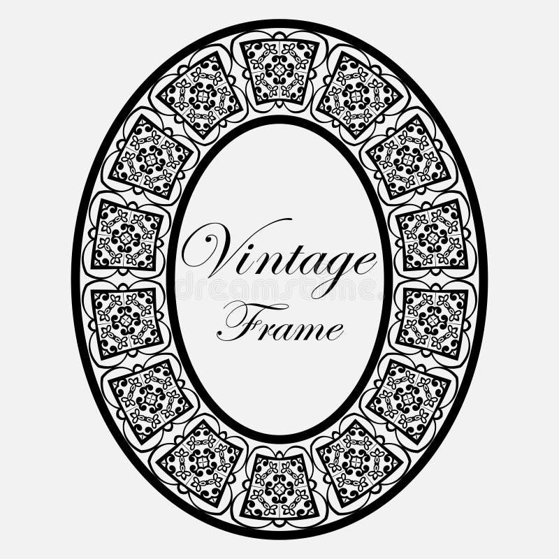 Vintage round frame. Vintage luxury retro ornamental round frame border with ornate pattern. Element for design stock illustration