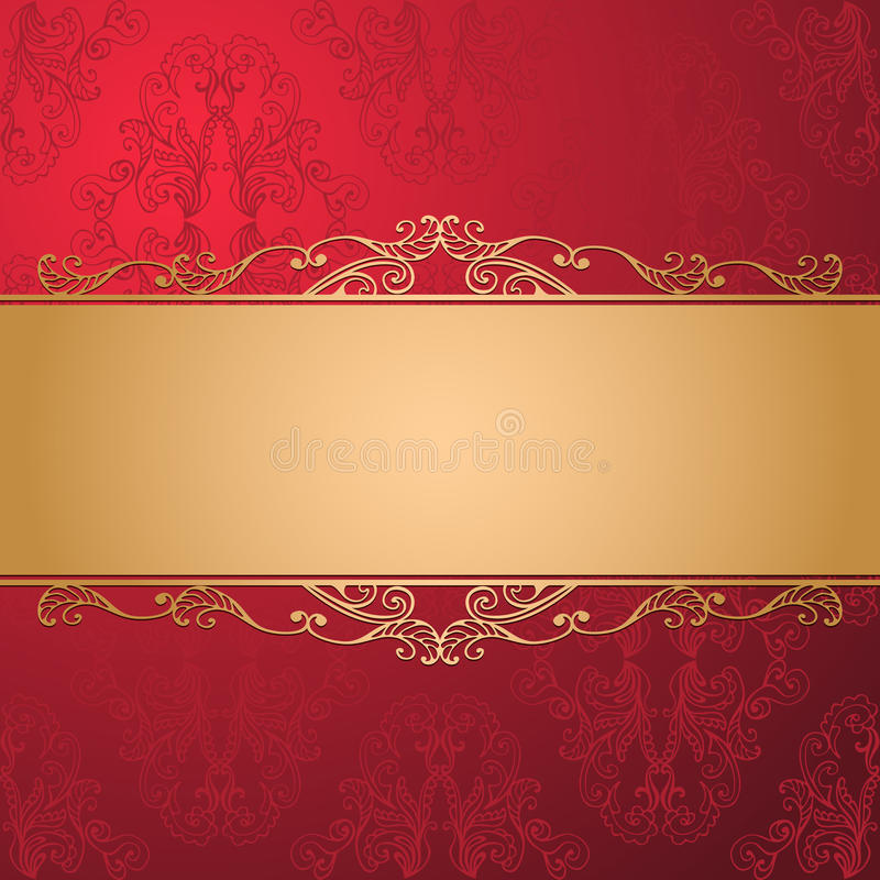 Vintage luxury vector background. Golden decorated ribbon on red seamless damask pattern. vector illustration
