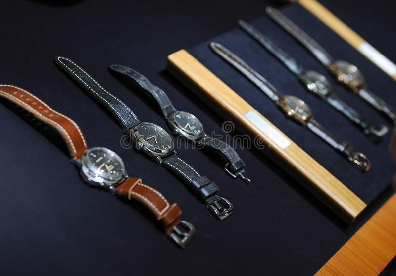 Vintage and luxury watches. On a display shop royalty free stock images