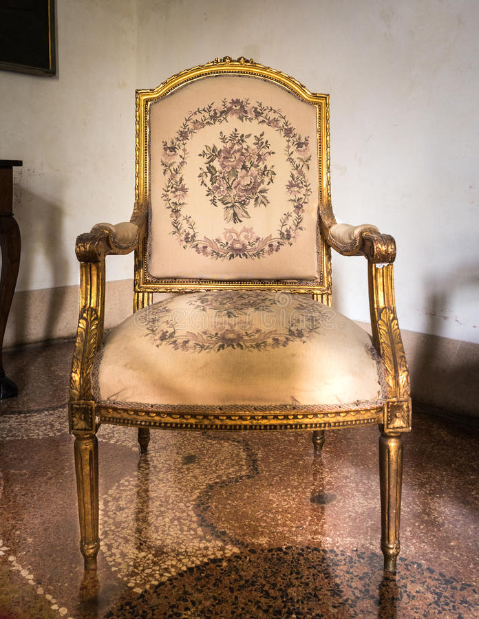 Download Vintage Luxury White And Golden Armchair. Stock Photo - Image of classic, luxury: 83724090