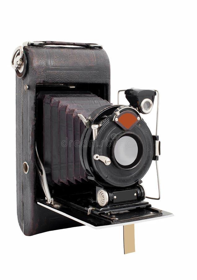 Vintage médio velho da câmera do formato isolado em um fundo branco fotografia de stock