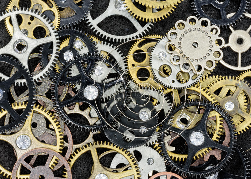 Vintage Machine Parts. Assortment of gears and other machine parts, macro view stock photo
