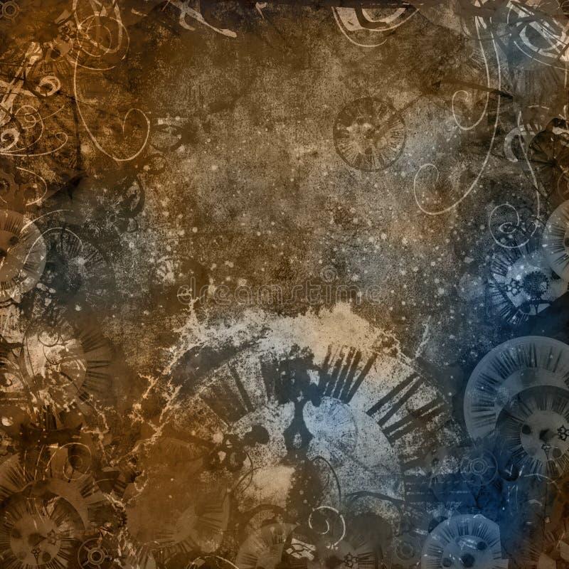 Vintage magic clocks abstract background stock illustration