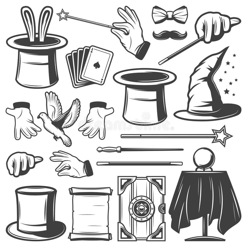 Vintage Magic Illusion Elements Collection. With hats ball rabbit pigeon gloves scroll paper box wands cards mustache isolated vector illustration stock illustration