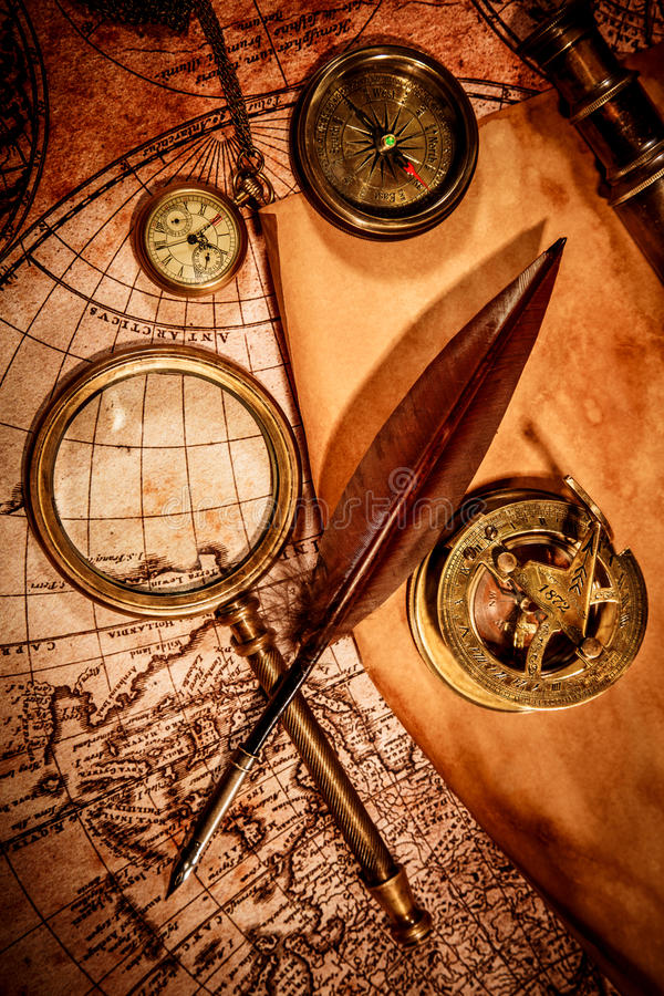 Vintage magnifying glass lies on an ancient world map stock image download vintage magnifying glass lies on an ancient world map stock image image of century gumiabroncs Image collections